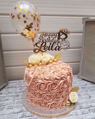 Picture of Balloon Cake Topper Confetti Gold Pink Straws