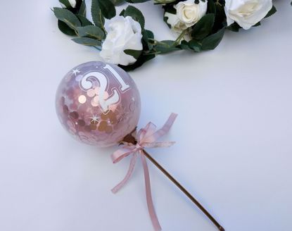 Picture of Balloon Cake Topper 21st Birthday Rose Gold Confetti