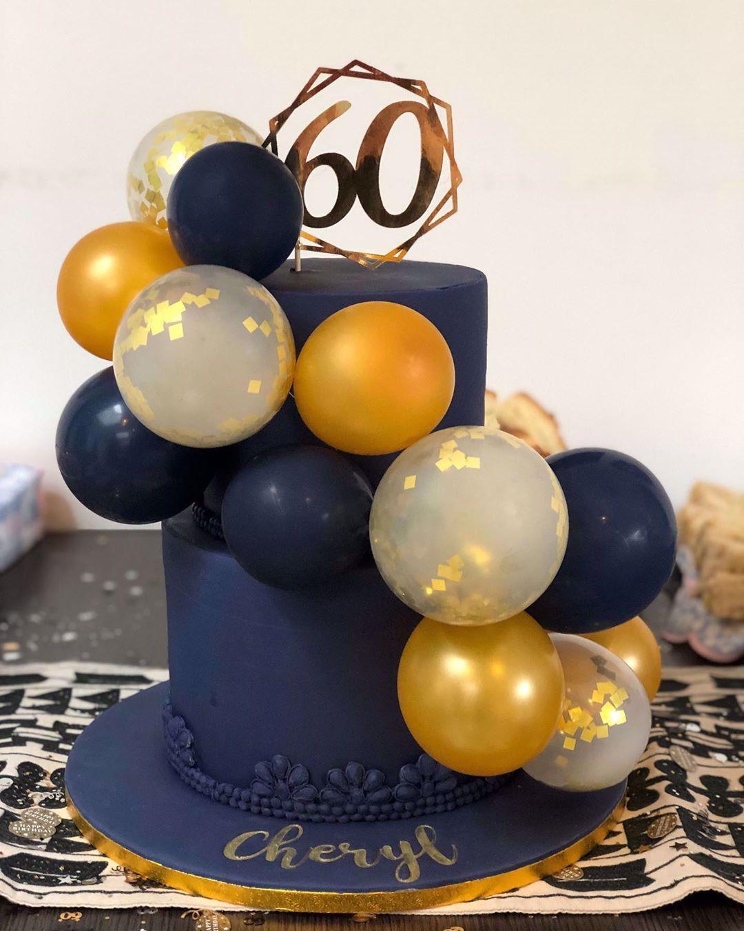 Outofmybubble Balloon Cake Topper Mini Garland Navy Gold