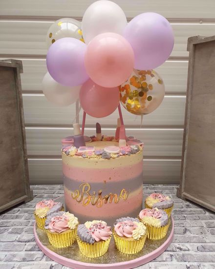 Picture of Balloon Cake Topper Mini Garland Pink Lilac White Gold Confetti