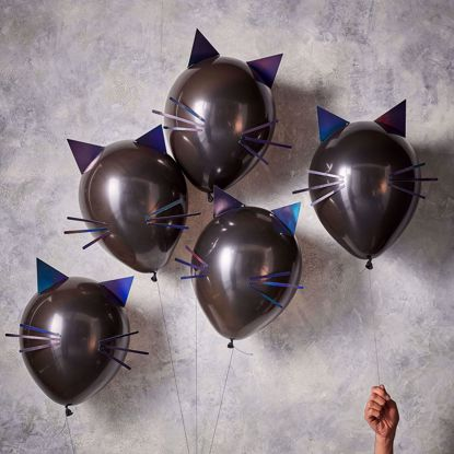Picture of CAT HALLOWEEN PARTY BALLOONS - LET'S GET BATTY
