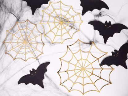 Picture of Spiderwebs, Fiesta de Los Muertos, gold, Paper Halloween Decorations