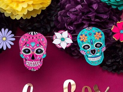 Picture of Mask Garland Fiesta de Los Muertos Halloween Decorations Kids Party