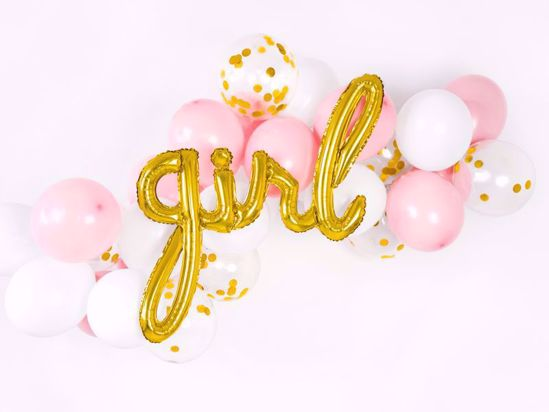 Picture of Girl Gold Script Balloon Arch