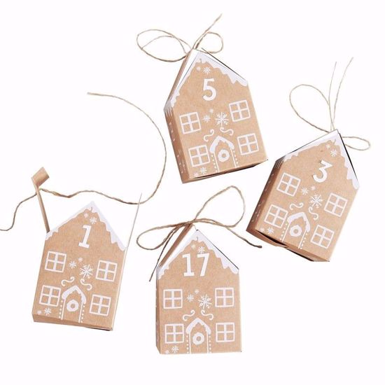 Picture of GINGERBREAD HOUSE CHRISTMAS ADVENT CALENDAR BOXES - LET IT SNOW