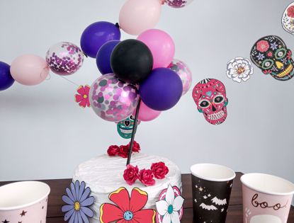 Picture of Balloon Cake Topper Halloween Pink Purple