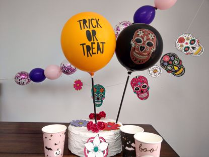 Picture of Balloon Cake Topper Halloween Skeleton Trick Or Treat