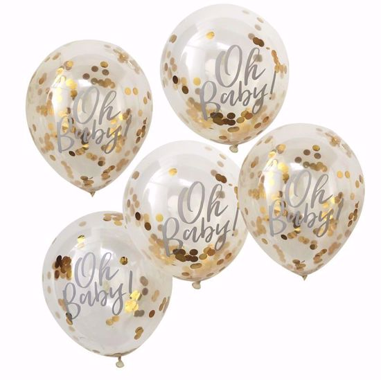 Picture of Oh Baby Gold Confetti Balloons
