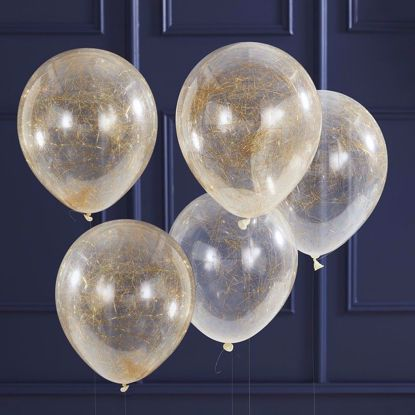 Picture of GOLD ANGEL HAIR FILLED PARTY CONFETTI BALLOONS