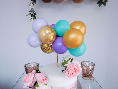 Picture of Pastel Balloons Cake Topper Arch Garland Aladdin Birthday  Purple