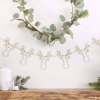 Picture of Wooden Stag Bunting Christmas Garland Traditional