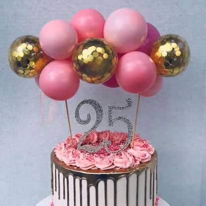 Picture of Balloon Cake Topper Pink Gold Confetti