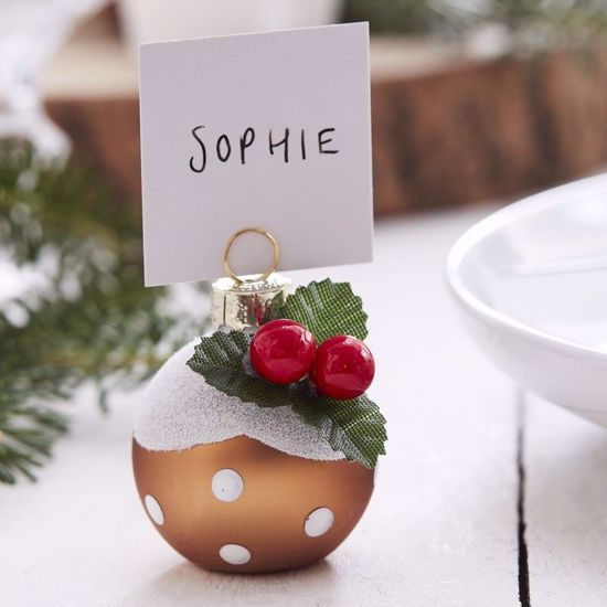 OutOfMyBubble. Christmas Pudding Bauble Place Card Holders