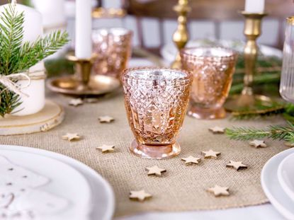 Picture of Rose Gold Candle Holder Glass
