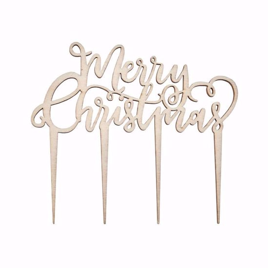 Picture of FESTIVE WOODEN MERRY CHRISTMAS CAKE TOPPER
