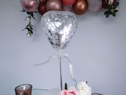 Picture of Balloon Cake Topper Heart Silver Confetti