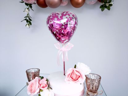 Picture of Balloon Cake Topper Heart Fuchsia Pink Confetti