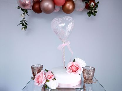 Picture of Balloon Cake Topper Heart Baby Pink Confetti