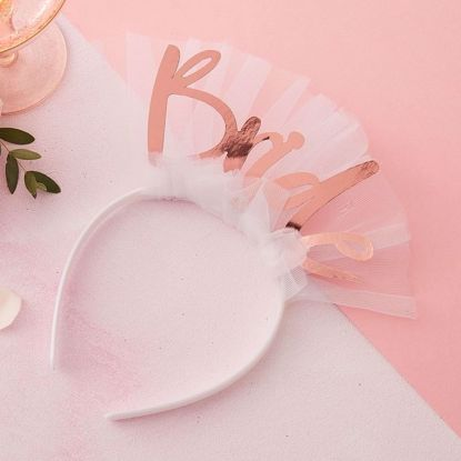 Picture of BRIDE TO BE HEADBAND VEIL - FLORAL HEN PARTY