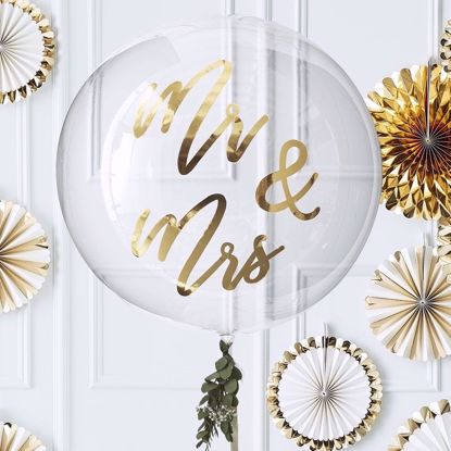 Picture of GOLD MR & MRS ORB BALLOON DECORATION - GOLD WEDDING