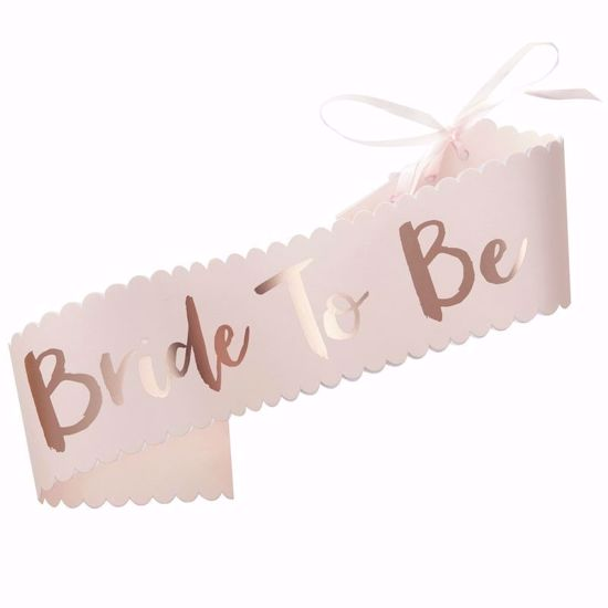 Picture of PINK & ROSE GOLD BRIDE TO BE SASH - TEAM BRIDE