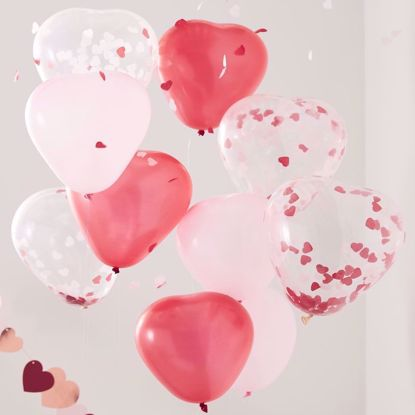 Picture of Pink, Red & Clear Confetti Heart Shaped Balloons