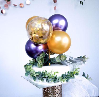Picture of GOLD AND CHROME PURPLE CAKE TOPPER MINI GARLAND