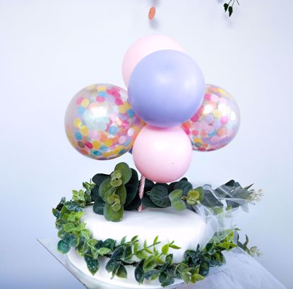 Picture of BALLOON CAKE TOPPER MINI GARLAND PINK LILAC
