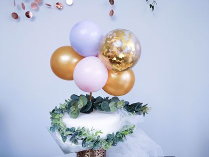 Picture of BALLOON CAKE TOPPER MINI GARLAND PINK LILAC GOLD
