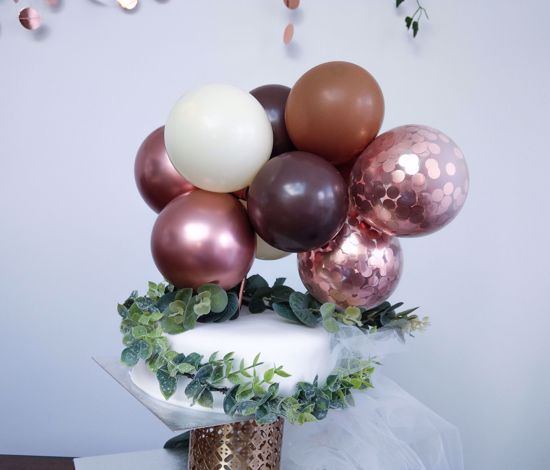 Picture of BALLOON CAKE TOPPER MINI GARLAND ROSE GOLD CHROME BROWN