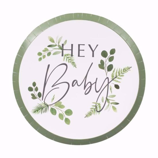 Picture of Hey Baby Shower Paper Plates  Botanical