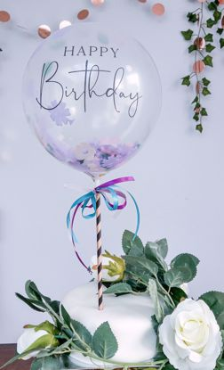 Picture of HAPPY BIRTHDAY BALLOON CAKE TOPPER FLOWER CONFETTI