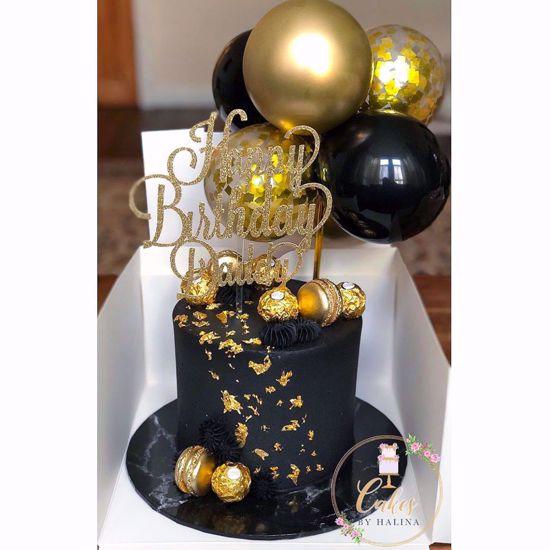 "Picture of Confetti Balloon Cake Topper 5"" Chrome Gold"