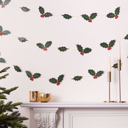 Picture of HOLLY LEAVES CHRISTMAS GARLAND DECORATION
