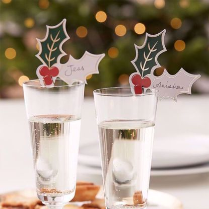 Picture of CHRISTMAS PARTY HOLLY GLASS DECORATIONS