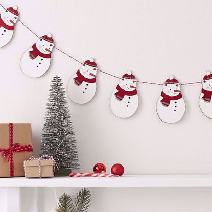 Picture of CHRISTMAS WOODEN SNOWMAN BUNTING