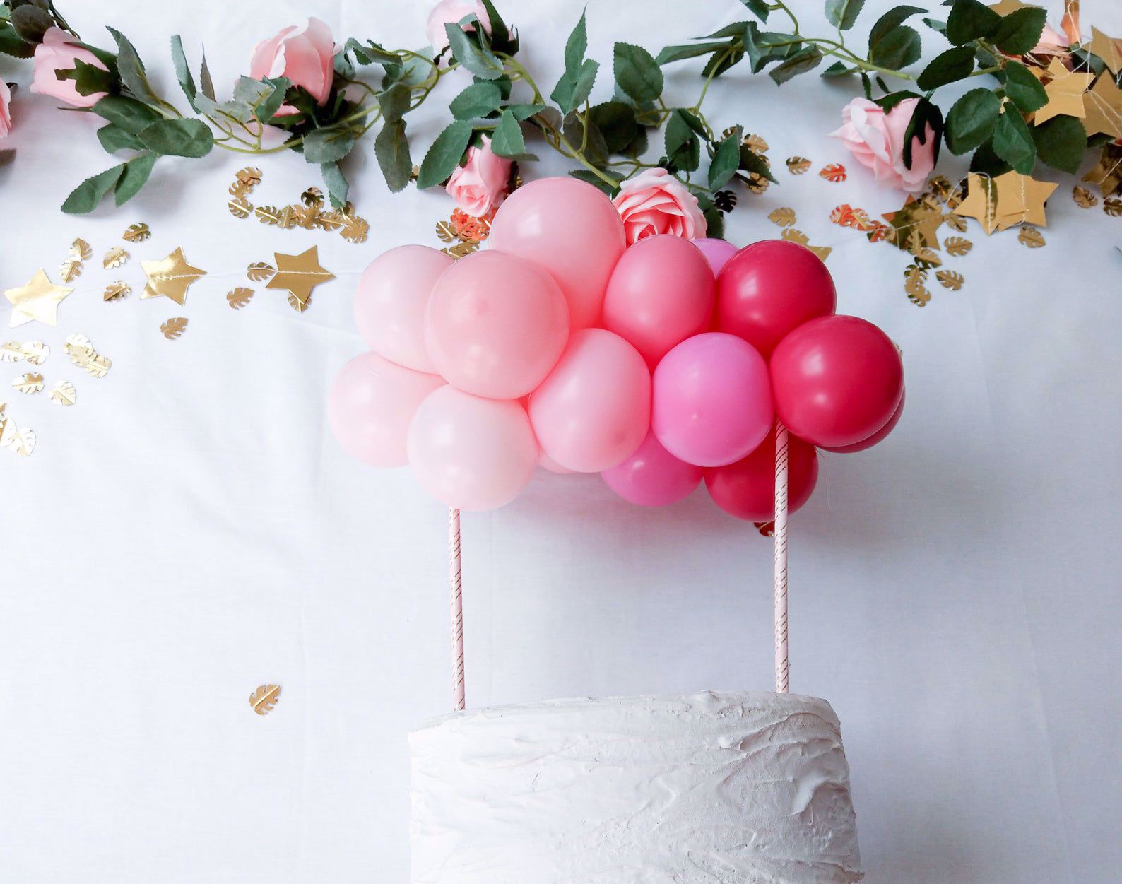 Outofmybubble Balloon Cake Topper Mini Garland Pink Ombre