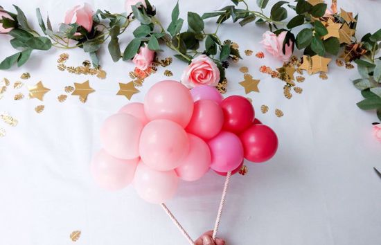 Picture of Balloon Cake Topper Mini Garland Pink Ombre