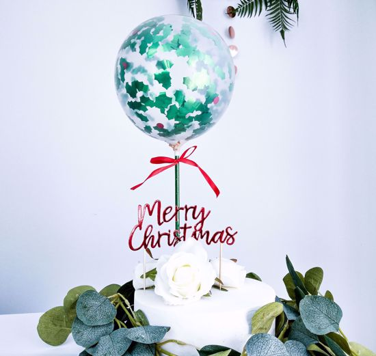 Picture of Merry Christmas Balloon Cake Topper Holly Berries