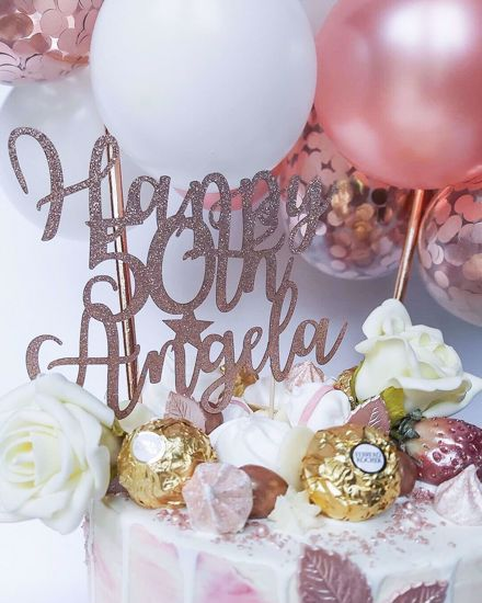 Picture of Balloon Cake Topper White Rose Gold Confetti Birthday