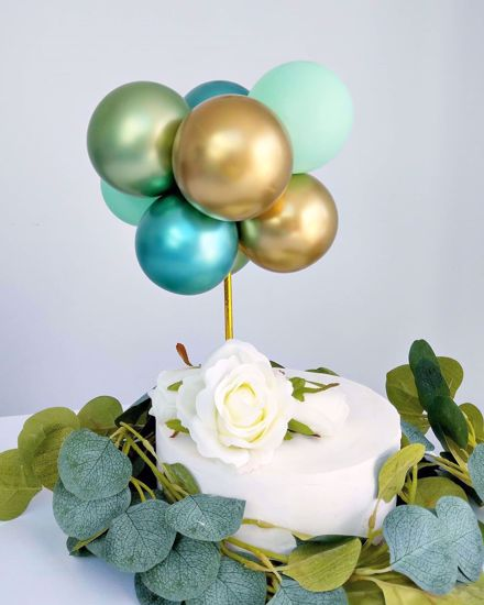 Picture of BALLOON CAKE TOPPER GARLAND GREEN CHROME BUNCH