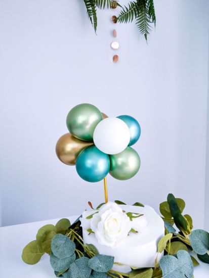 Picture of BALLOON CAKE TOPPER  GREEN CHROME BUNCH BIRTHDAY SAFARI