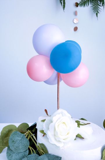Picture of BALLOON CAKE TOPPER BUNCH BLUE LILAC PINK