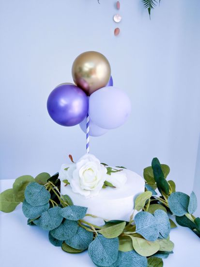 Picture of BALLOON CAKE TOPPER BUNCH PURPLE CHROME GOLD