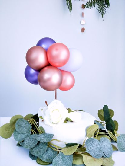 Picture of ROSE GOLD CHROME BALLOON CAKE TOPPER BIRTHDAY