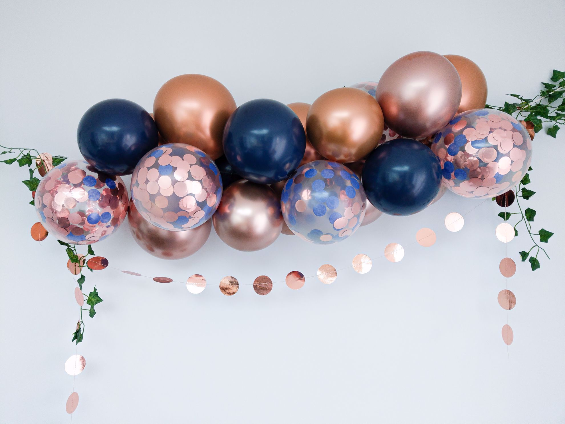 Outofmybubble Rose Gold Balloon Arch Garland Navy Confetti