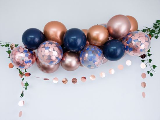 Picture of Rose Gold Balloon Arch Garland Navy Confetti