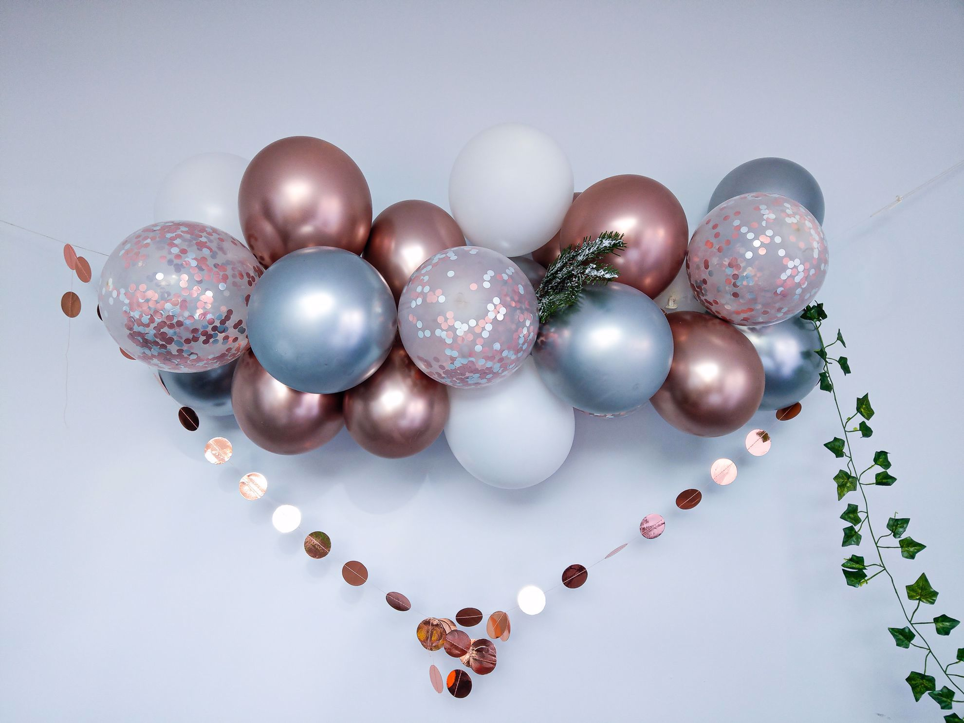 Outofmybubble Rose Gold Balloon Arch Garland Silver Chrome Confetti