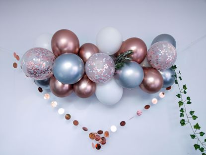 Picture of Rose Gold Balloon Arch Garland Silver Chrome Confetti