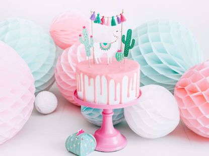 Picture of Llama Party Cake topper Birthday Tassel Garland